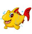cute yellow fish cartoon vector image vector image