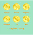 different cryptocurrency signs on golden coins vector image
