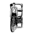 drawing tricycle man on street in india vector image vector image