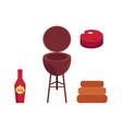flat barbecue bbq grill symbols set vector image vector image