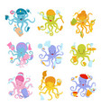 flat set of colorful octopuses of different vector image vector image