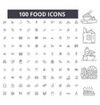 food editable line icons 100 set vector image vector image