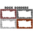 four borders of rocks in different colors vector image