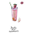 glass of jamba juice strawberries watercolor vector image vector image