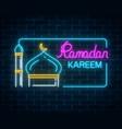 glowing neon ramadan kareem greeting text with vector image vector image