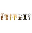 halloween trees creepy or scary and frightening vector image vector image