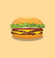 hamburger american style with flat style and vector image