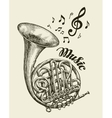 Hand-drawn musical french horn Sketch vintage vector image vector image