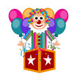 happy circus clown on a surprise box vector image