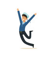 happy sailor man character in blue uniform vector image vector image