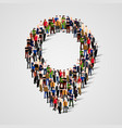 large group people crowded in form map vector image vector image