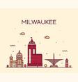 milwaukee skyline wisconsin usa linear city vector image vector image