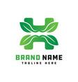 natural leaf logo design letter h vector image