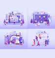 online working tools business concepts in flat vector image