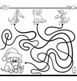 paths maze game with dogs for coloring vector image vector image