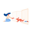 pet shelter scene with dog running to girl out vector image