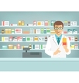 Pharmacist counter man with medicine in pharmacy