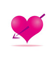 pink heart arrows piercing icon vector image vector image