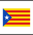 realistic catalan flag with drop shadow vector image