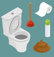Restroom icon set White toilet bowl Spray air vector image