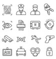 security safety line icon set vector image vector image