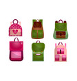 set modern outdoor backpacks different vector image vector image