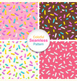 set of seamless patterns of donut glaze with vector image