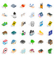 town park icons set isometric style vector image vector image