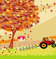 Tractor plowing field in autumn vector image vector image