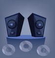 Two blue music speakers on a deck vector image