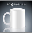 white cups for coffee or tea on black background vector image