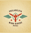 wind riders airplane retro label sign or vector image vector image