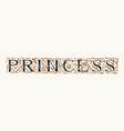 word princess vintage lettering in ornate letters vector image