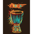 african drum tam tam with watercolor splashes vector image