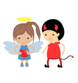 Good girl and bad boy romance Cute doodles drawing vector image