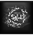 Hello sale Lettering on chalkboard vector image
