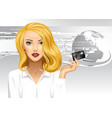 blonde girl holding a credit card on digital vector image vector image
