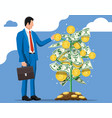 businessman harvests from money coin tree vector image