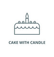 cake with candle line icon cake with vector image vector image