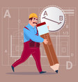cartoon builder hold big pencil creating new vector image vector image