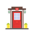 cartoon red front door of house vector image
