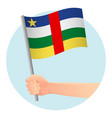 central african republic flag in hand vector image vector image
