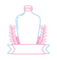 color line long mason jar with branches and ribbon vector image vector image