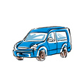 Colored hand drawn car on white background minivan vector image vector image