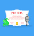 colorful diploma template for kids with place for vector image vector image