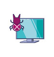 Computer with bug virus infection icon