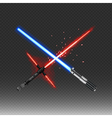 Crossed fantastic weapons in red and blue colors vector image