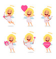 cupid girl cute cartoon character set vector image vector image