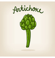 cute hand drawn shiny artichoke vector image vector image