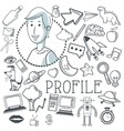 Doodle icon design profile icon draw concept vector image vector image